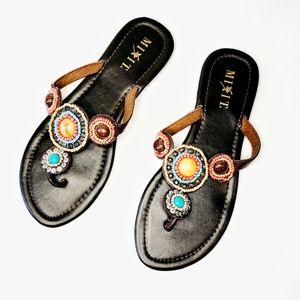 Boho Beaded Sandals sz 8